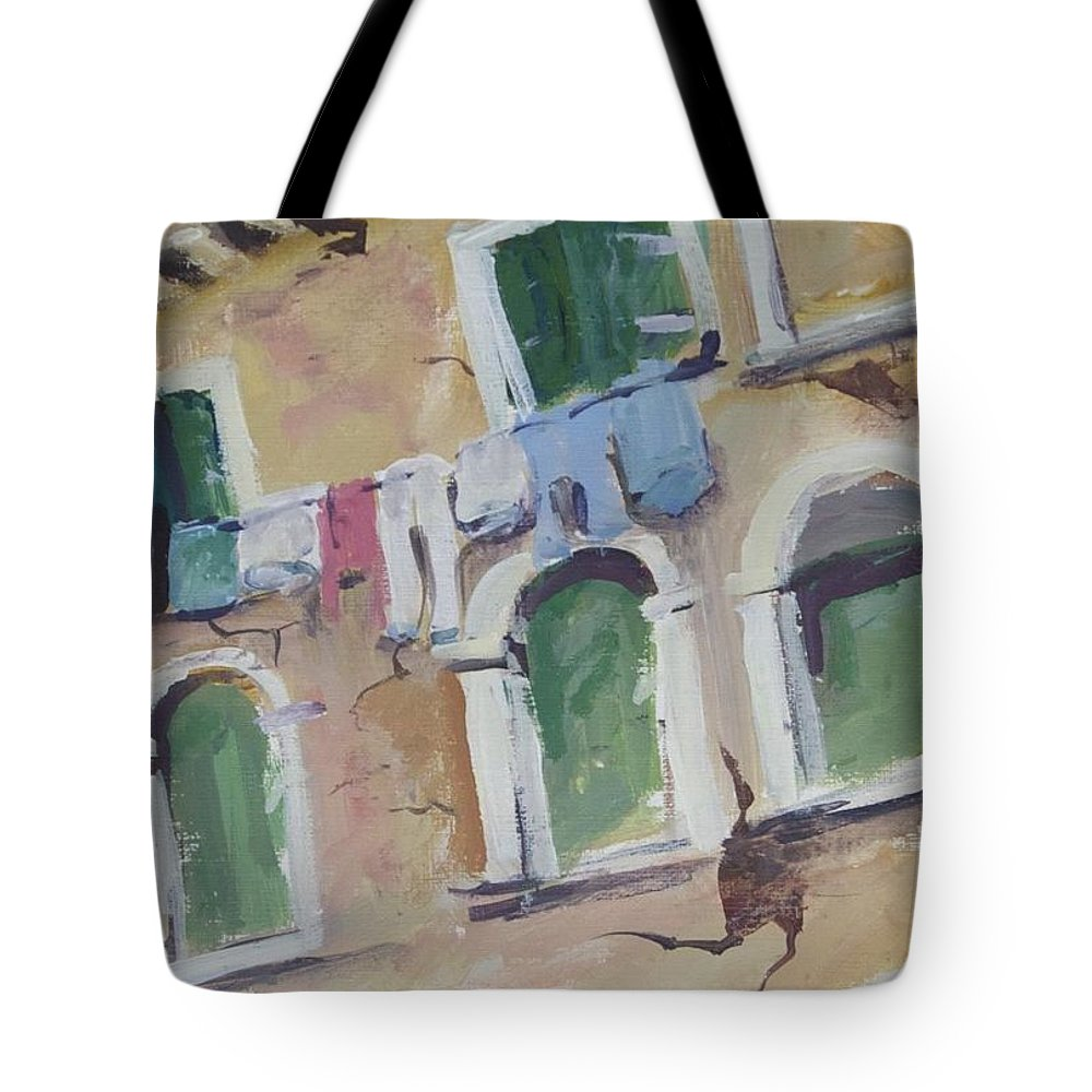 Original Painting Tote Bag featuring the painting Washday In Venice by Mickey Bissell
