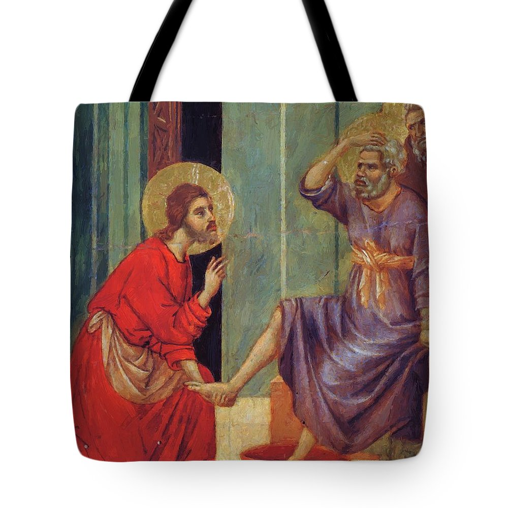 Washing Tote Bag featuring the painting Washing Of Feet Fragment 1311 by Duccio