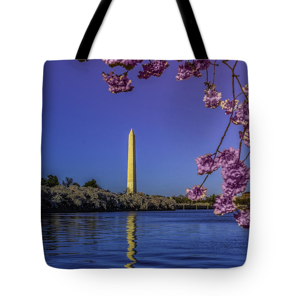 Blossoms Tote Bag featuring the photograph Washington Reflection And Blossoms by Nick Zelinsky