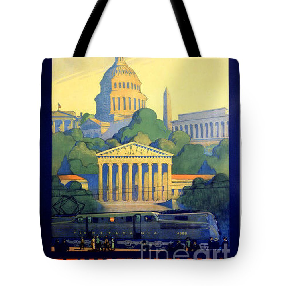 Vintage Tote Bag featuring the painting Washington The City Beautiful by Nostalgic Prints