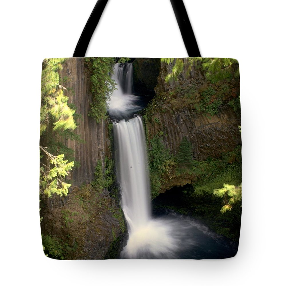 Waterfall Tote Bag featuring the photograph Washington Waterfall by Marty Koch