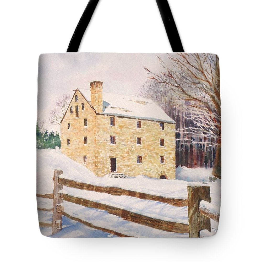 Landscape Tote Bag featuring the painting Washington's Grist Mill by Tom Harris
