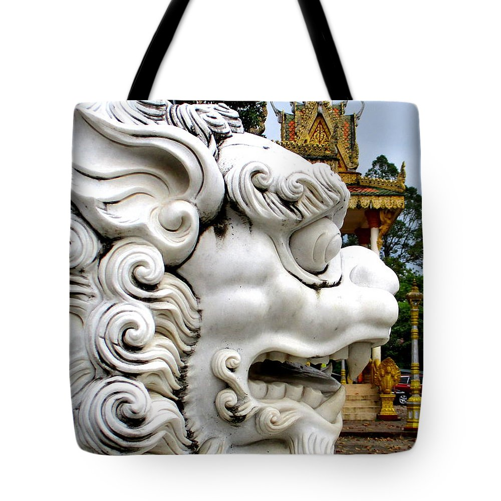 Cambodia Tote Bag featuring the photograph Wat Krom 29 by Randall Weidner