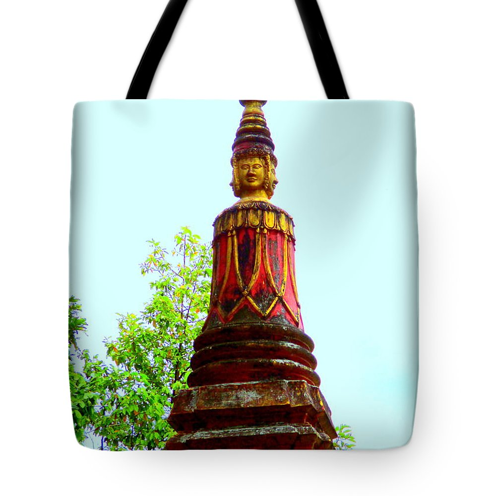 Cambodia Tote Bag featuring the photograph Wat Krom 32 by Randall Weidner