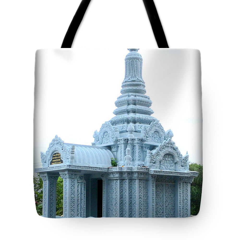 Cambodia Tote Bag featuring the photograph Wat Krom 35 by Randall Weidner