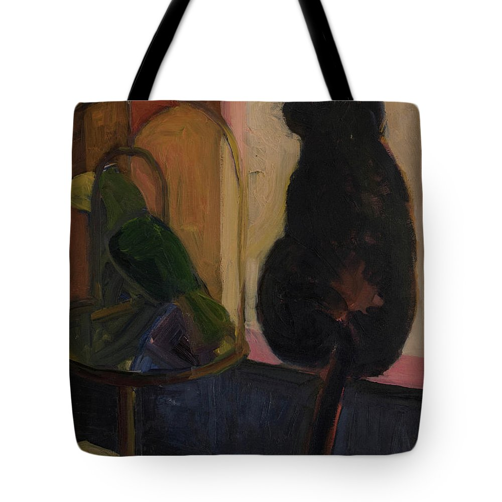 Bird Tote Bag featuring the painting Watch And Wait by Craig Newland