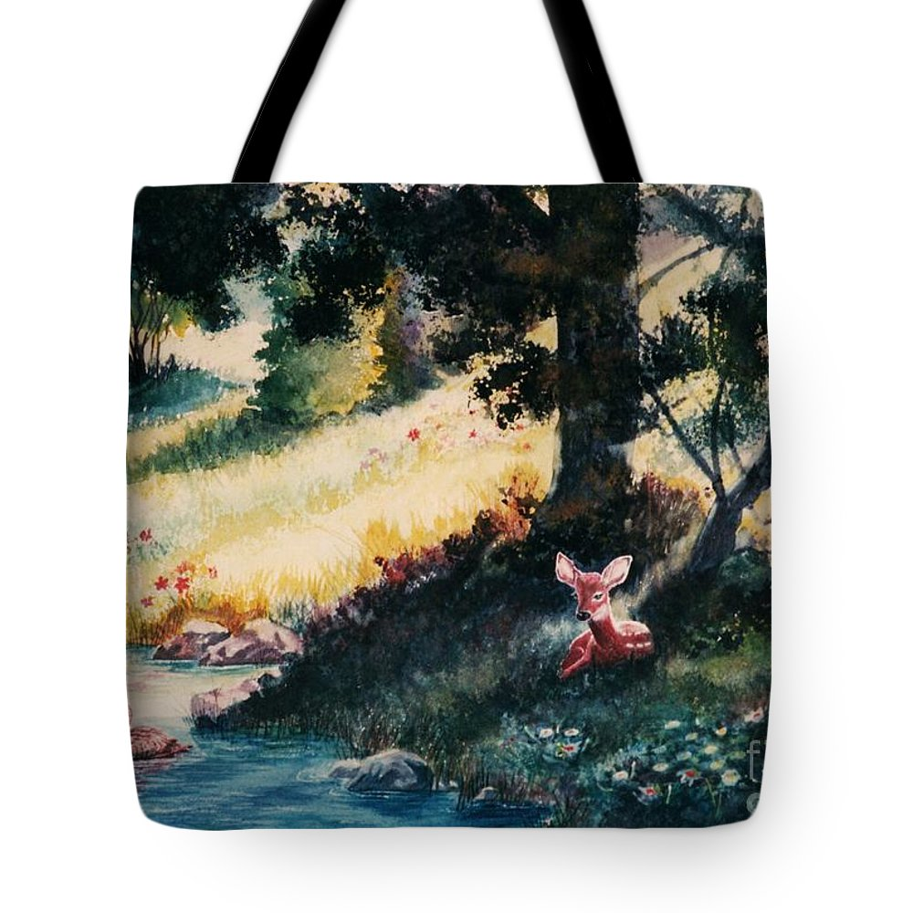 Animals Tote Bag featuring the painting Watchful Eye by Marilyn Smith