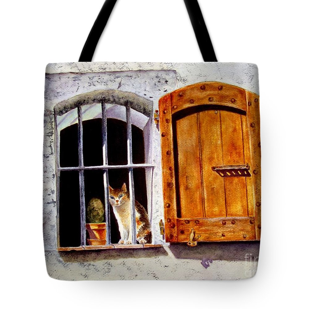 Cat Tote Bag featuring the painting Watchful Eyes by Karen Fleschler