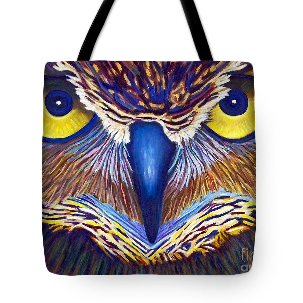 Owl Tote Bag featuring the painting Watching by Brian Commerford