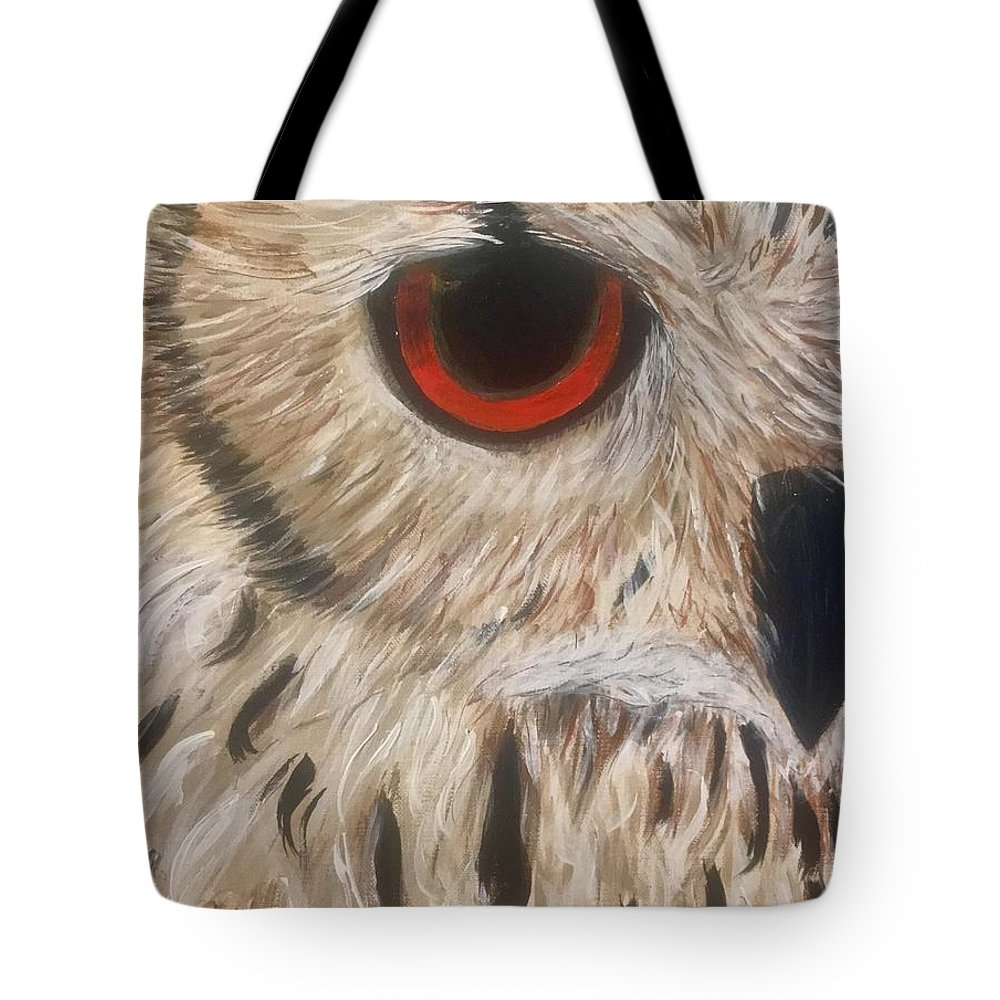 Owl Orange Tote Bag featuring the painting Watching Over You by Koni Webb Bosch