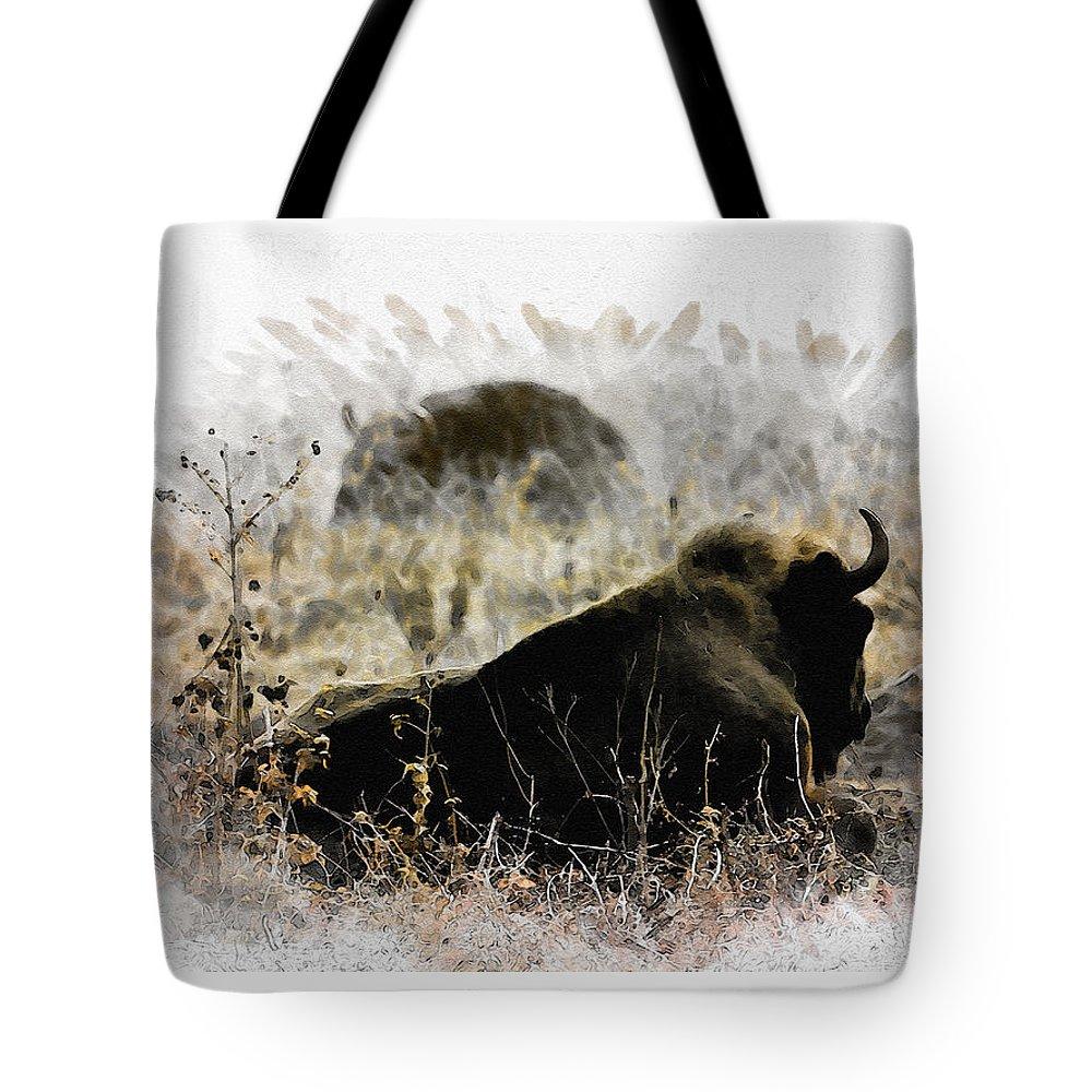 Bison Tote Bag featuring the digital art Watching The Enemy by Diana Van