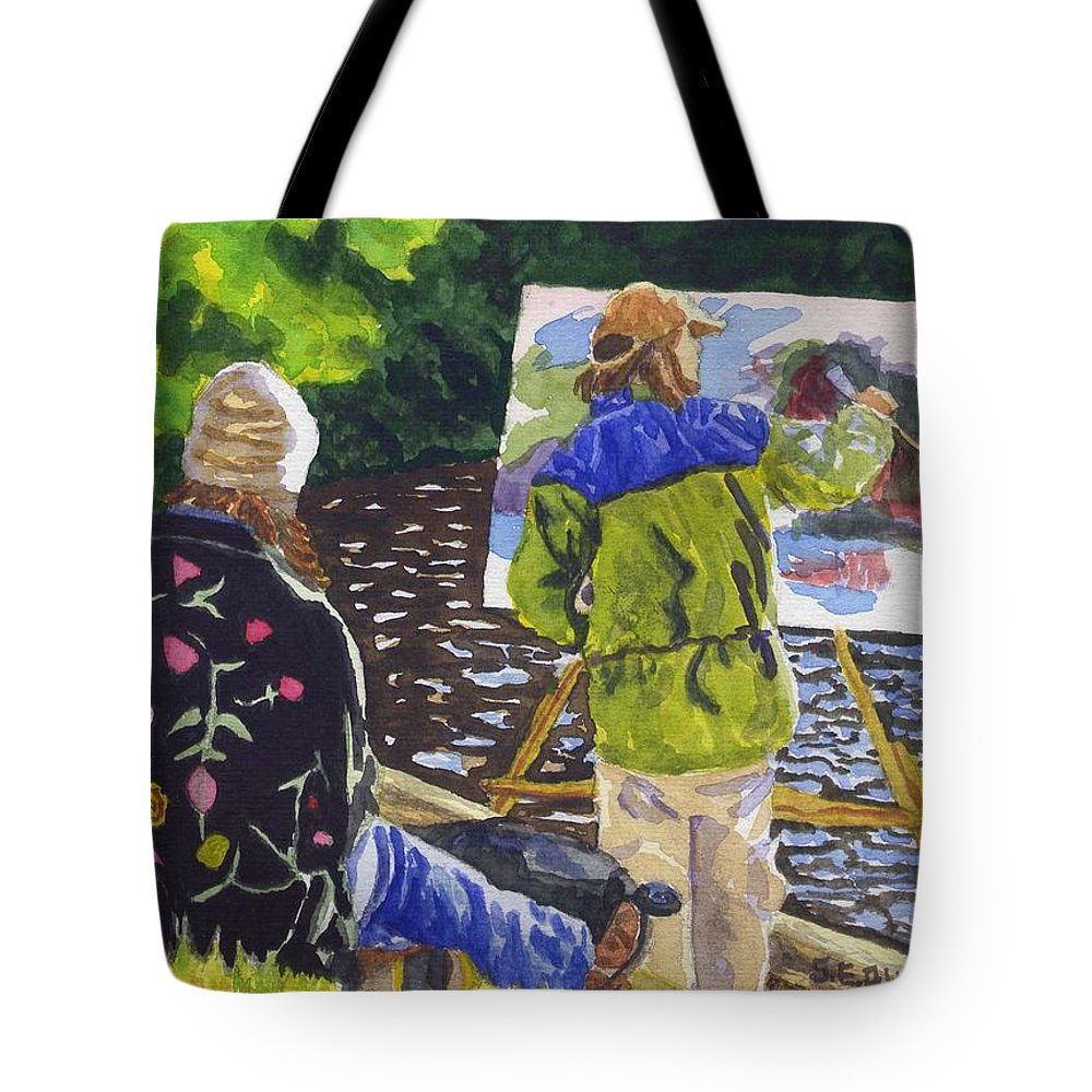 Artist Tote Bag featuring the painting Watching The Maestro by Sharon E Allen