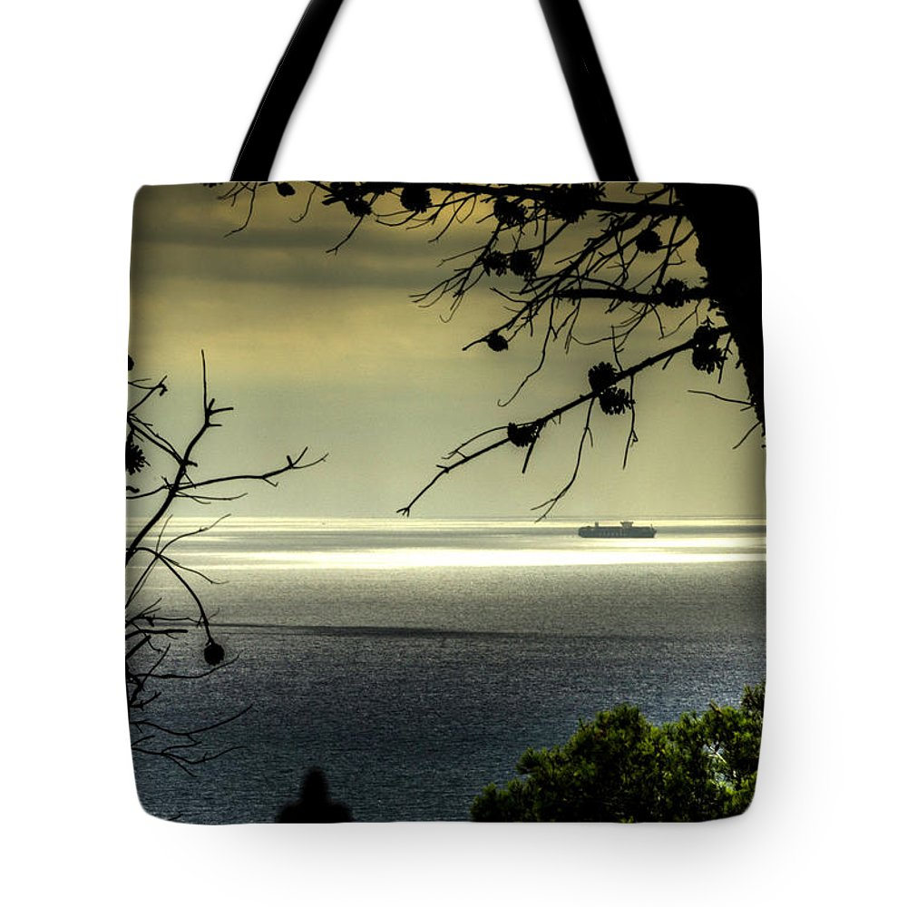 Barcelona Tote Bag featuring the photograph Watching The Ships Go By by Wolfgang Stocker