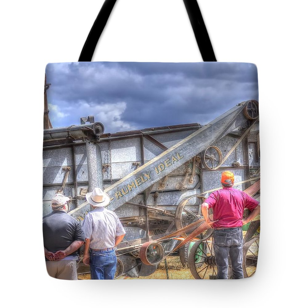 Or Tote Bag featuring the photograph Watching The Thresher 3368 by Jerry Sodorff
