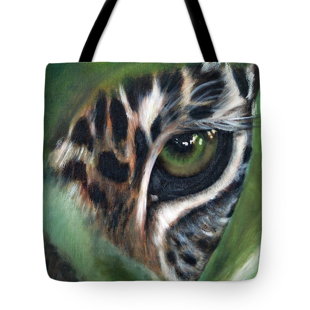 Animals Tote Bag featuring the painting Watching You Watching Me by Fiona Jack
