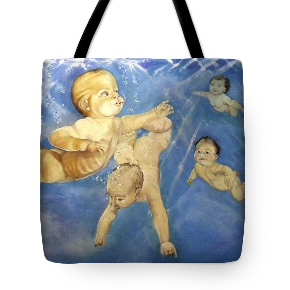 Babies Tote Bag featuring the painting Water Babies by Jane Simpson