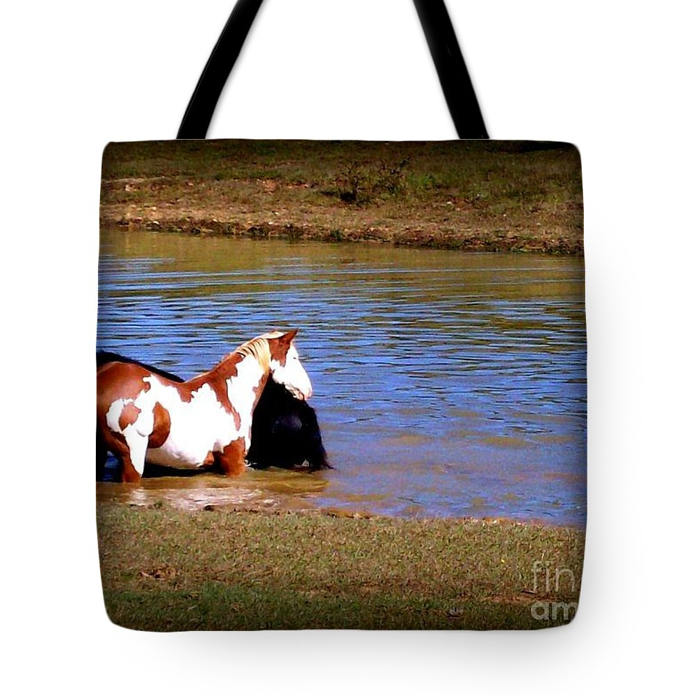 Horses Tote Bag featuring the photograph Water Babies by Rabiah Seminole