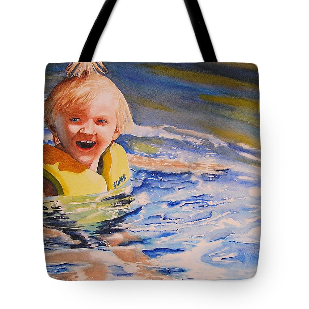 Swimming Tote Bag featuring the painting Water Baby by Karen Stark