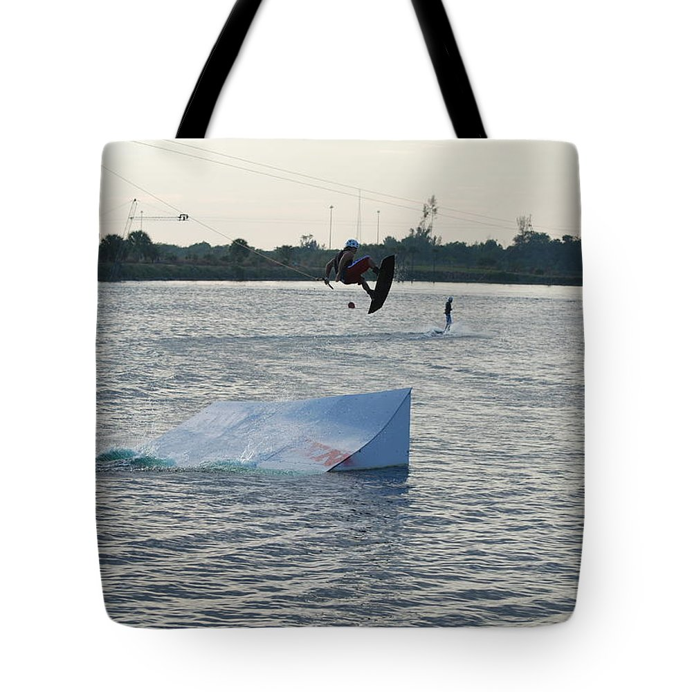 Water Tote Bag featuring the photograph Water Boarding by Rob Hans