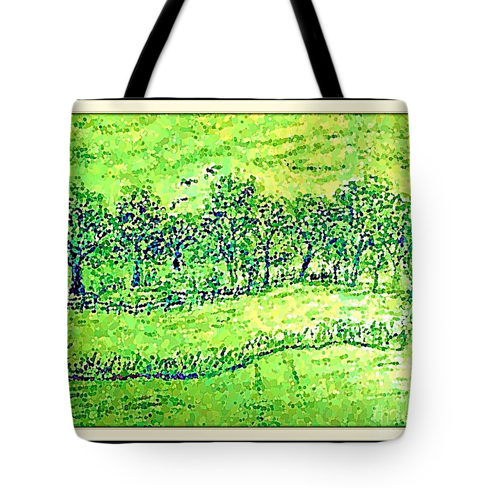 Pencil Tote Bag featuring the drawing Water Color Of Apple Orchard Farm by Debra Lynch
