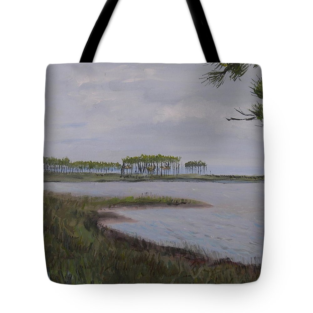 Landscape Beach Coast Tree Water Tote Bag featuring the painting Water Color by Patricia Caldwell