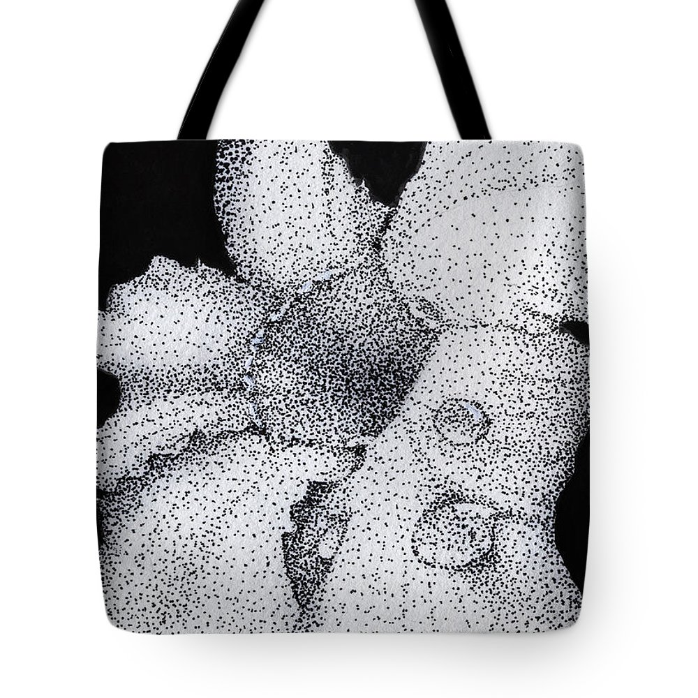 Flower Tote Bag featuring the drawing Water Drops by Linda Hiller