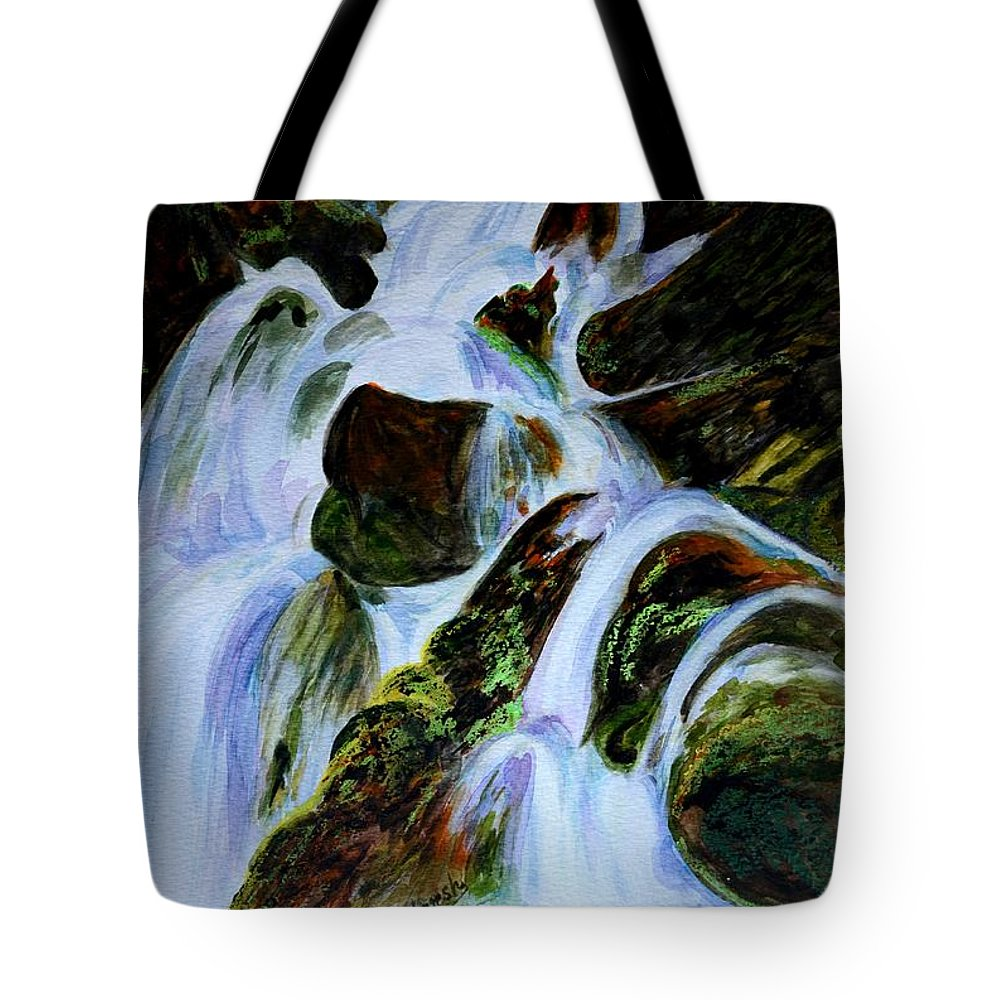 Water Fall Tote Bag featuring the painting Energy Of Water by Harsh Malik