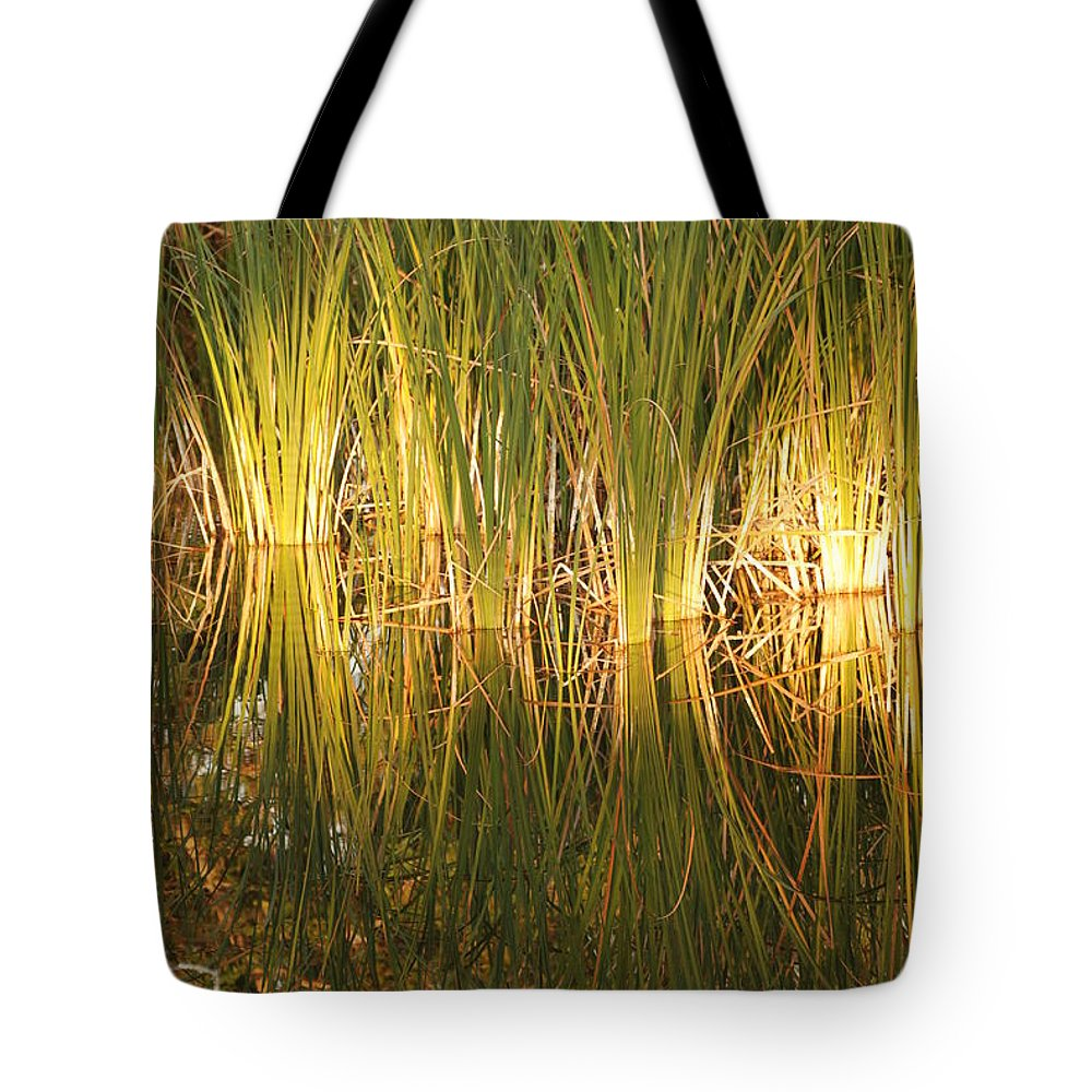 Grass Tote Bag featuring the photograph Water Grass In Sunset by Rob Hans