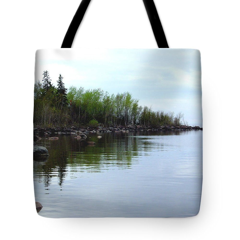 Grand Beach Shoreline Tote Bag featuring the photograph Water Like Glass by Joanne Smoley
