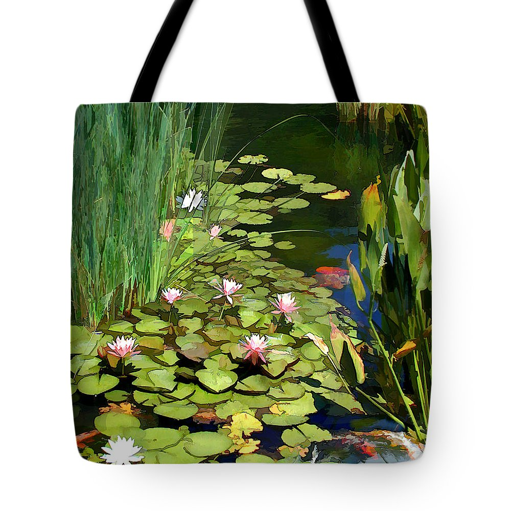 Japanese Garden Tote Bag featuring the painting Water Lilies And Koi Pond by Elaine Plesser