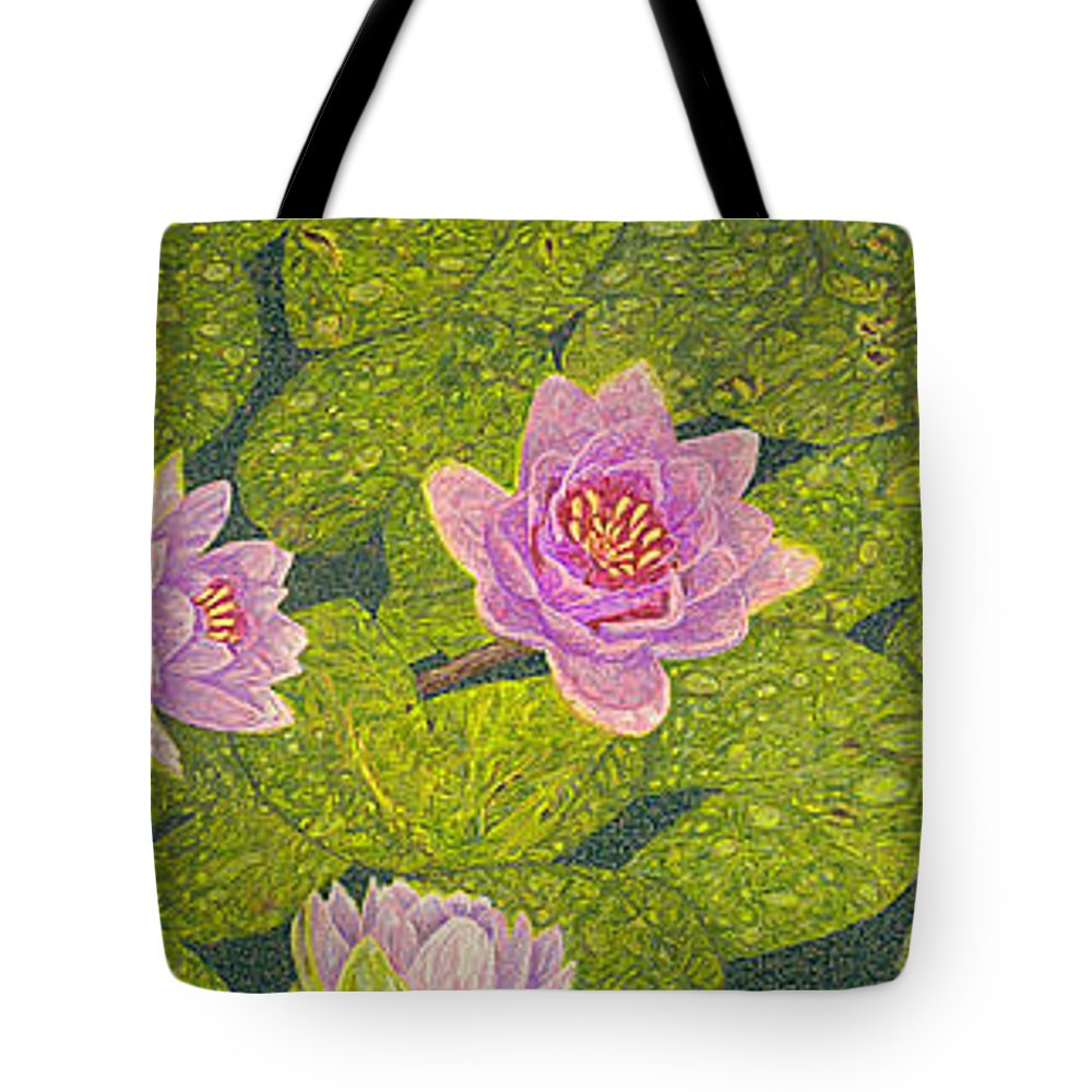 Water Lilies Tote Bag featuring the drawing Water Lilies Lily Flowers Lotuses Fine Art Prints Contemporary Modern Art Garden Nature Botanical by Baslee Troutman