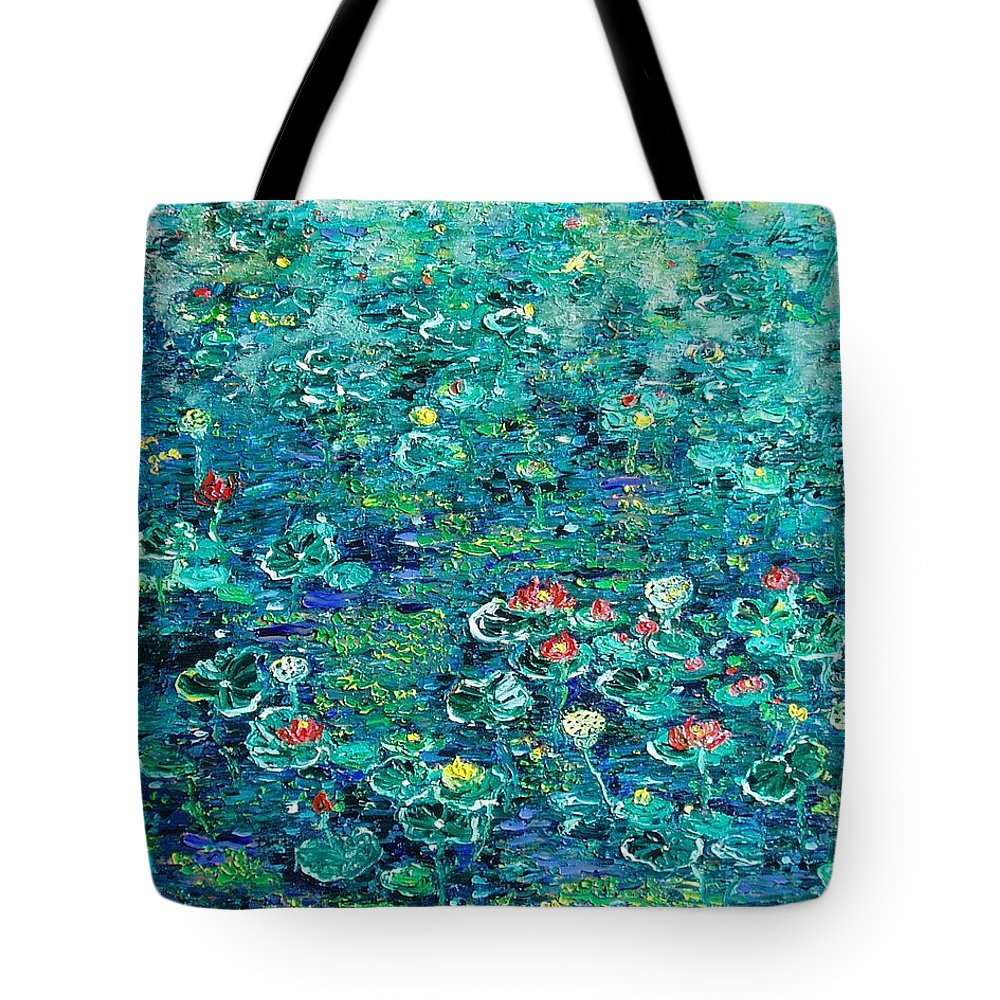 Water Lily Paintings Tote Bag featuring the painting Water Lilies Lily Pad Lotus Water Lily Paintings by Seon-Jeong Kim