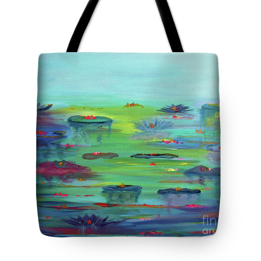 Water Lily Tote Bag featuring the painting Water Lillies by Stacey Zimmerman