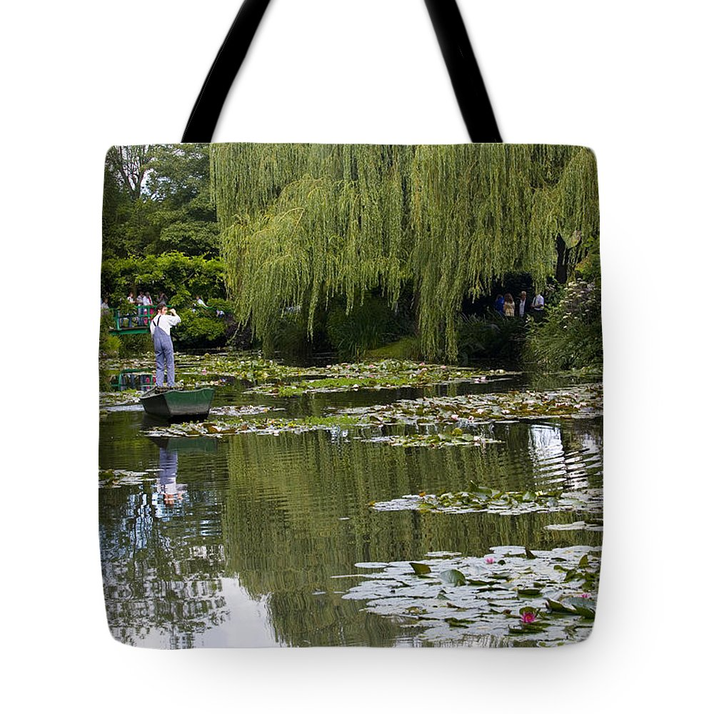 Monet Gardens Giverny France Water Lily Punt Boat Water Willows Tote Bag featuring the photograph Water Lily Garden Of Monet In Giverny by Sheila Smart Fine Art Photography