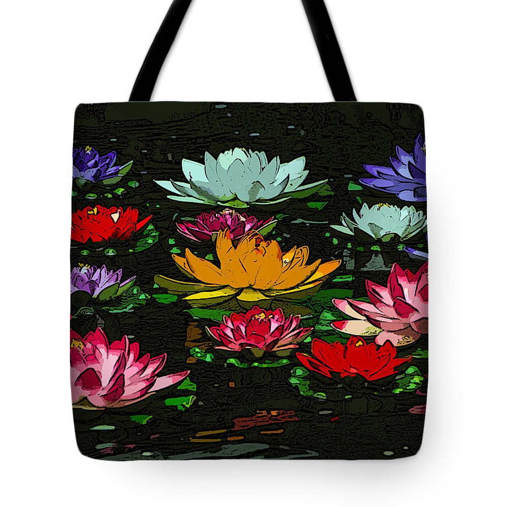 Water Lily Tote Bag featuring the digital art Water Lily by Lora Battle
