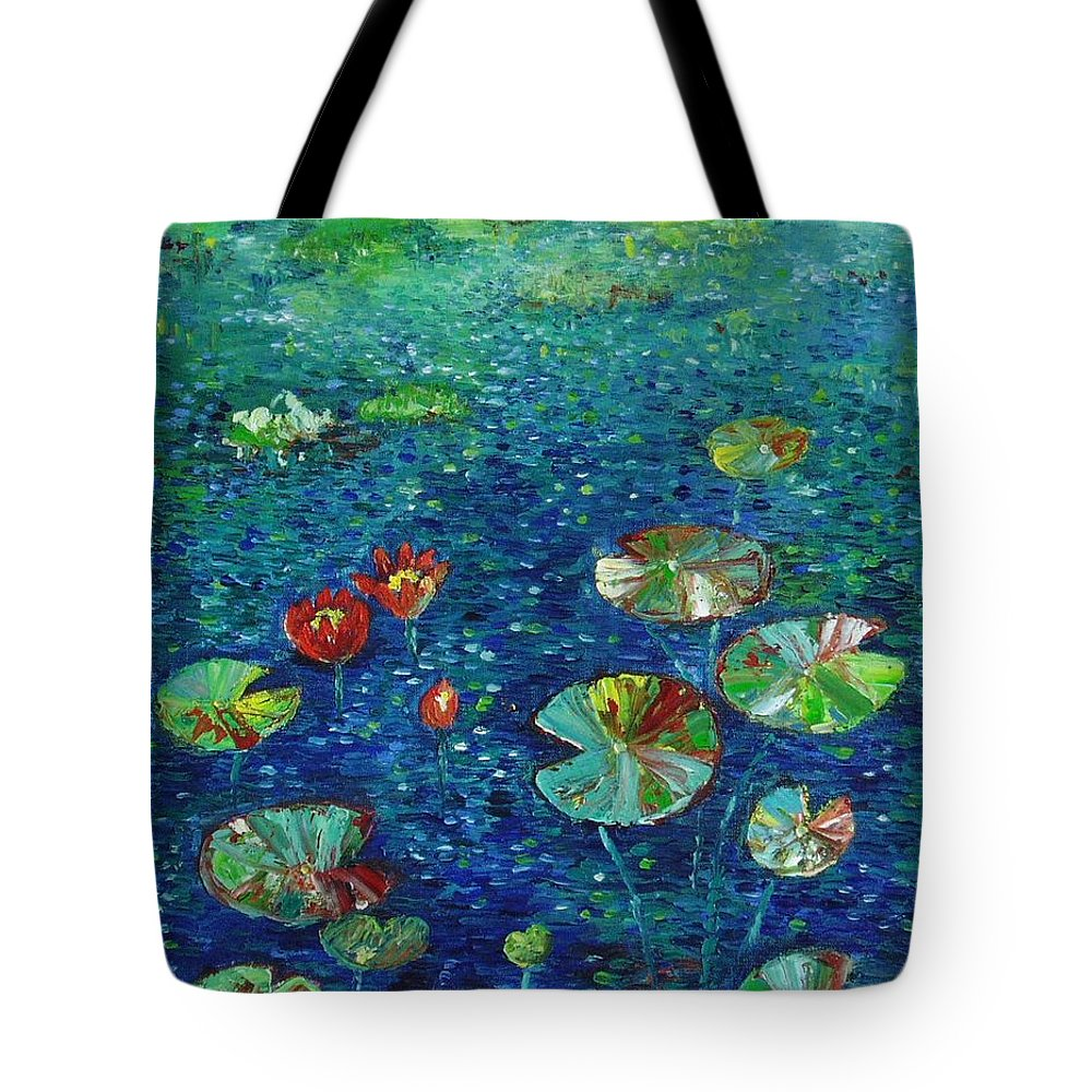 Lotus Paintings Tote Bag featuring the painting Water Lily Lotus Lily Pads Paintings by Seon-Jeong Kim