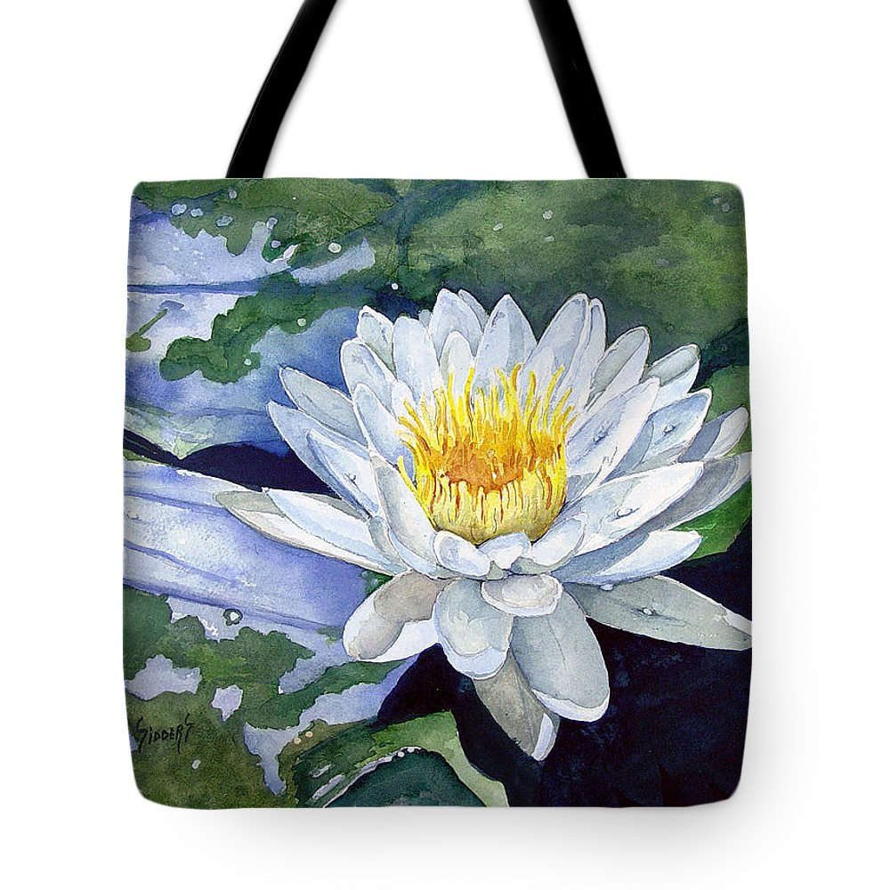 Flower Tote Bag featuring the painting Water Lily by Sam Sidders