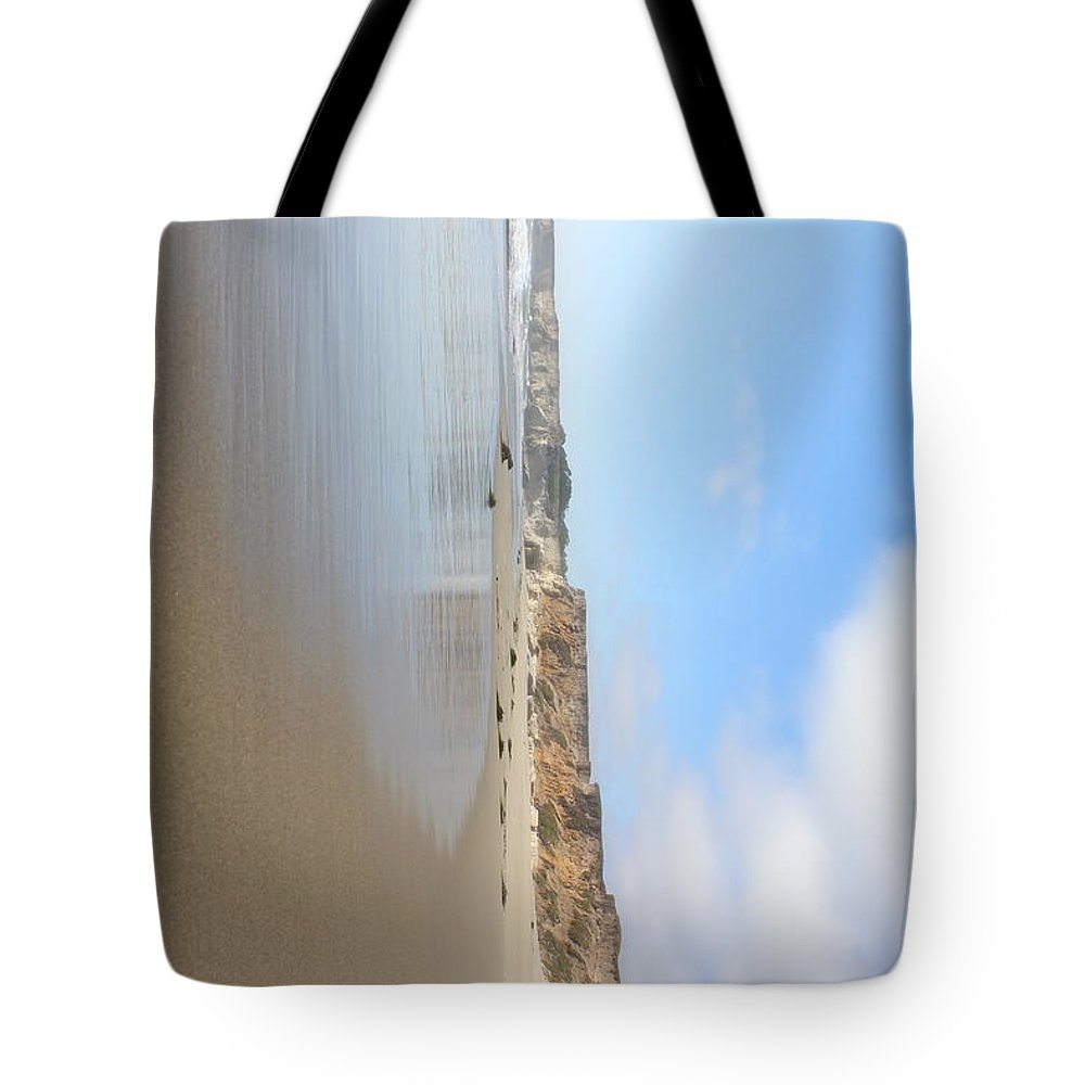 Beach Tote Bag featuring the photograph Water Meets Sand by Sutthida Torr