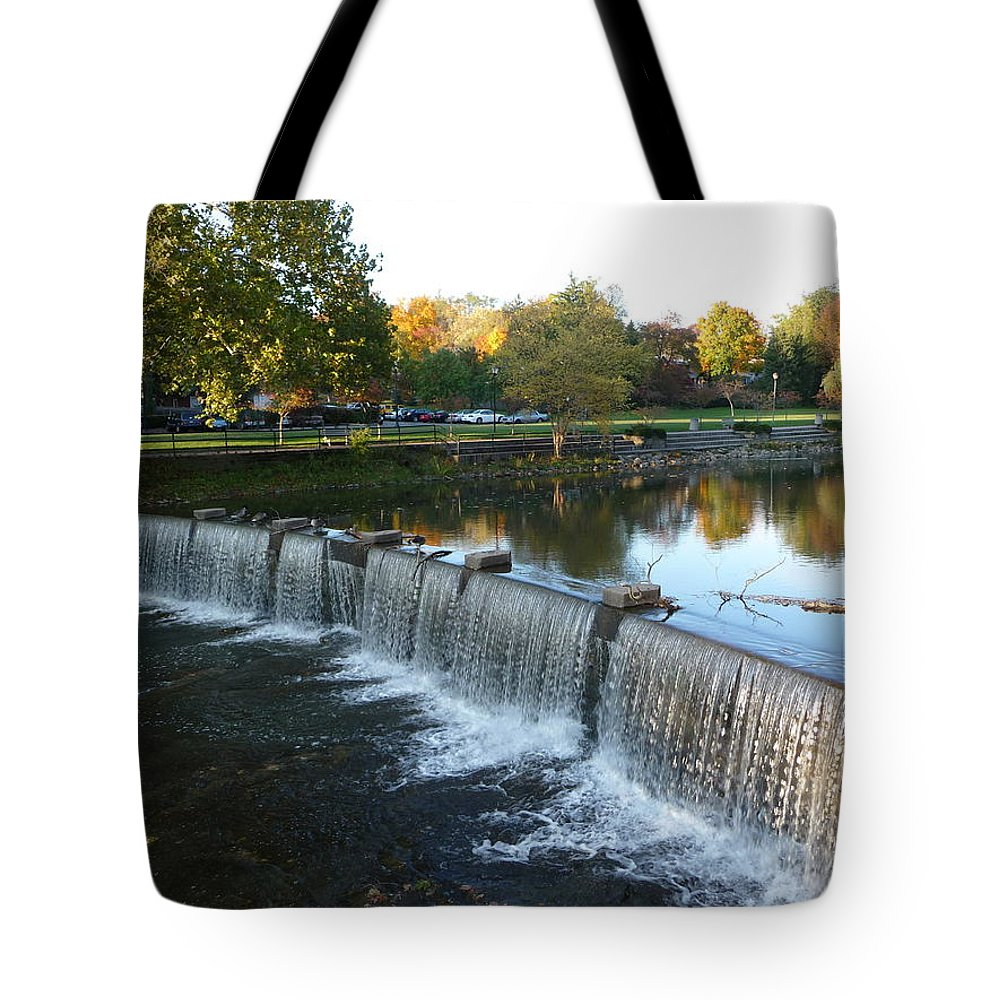 Chagrin Falls Tote Bag featuring the photograph Water Over The Dam by Joel Deutsch