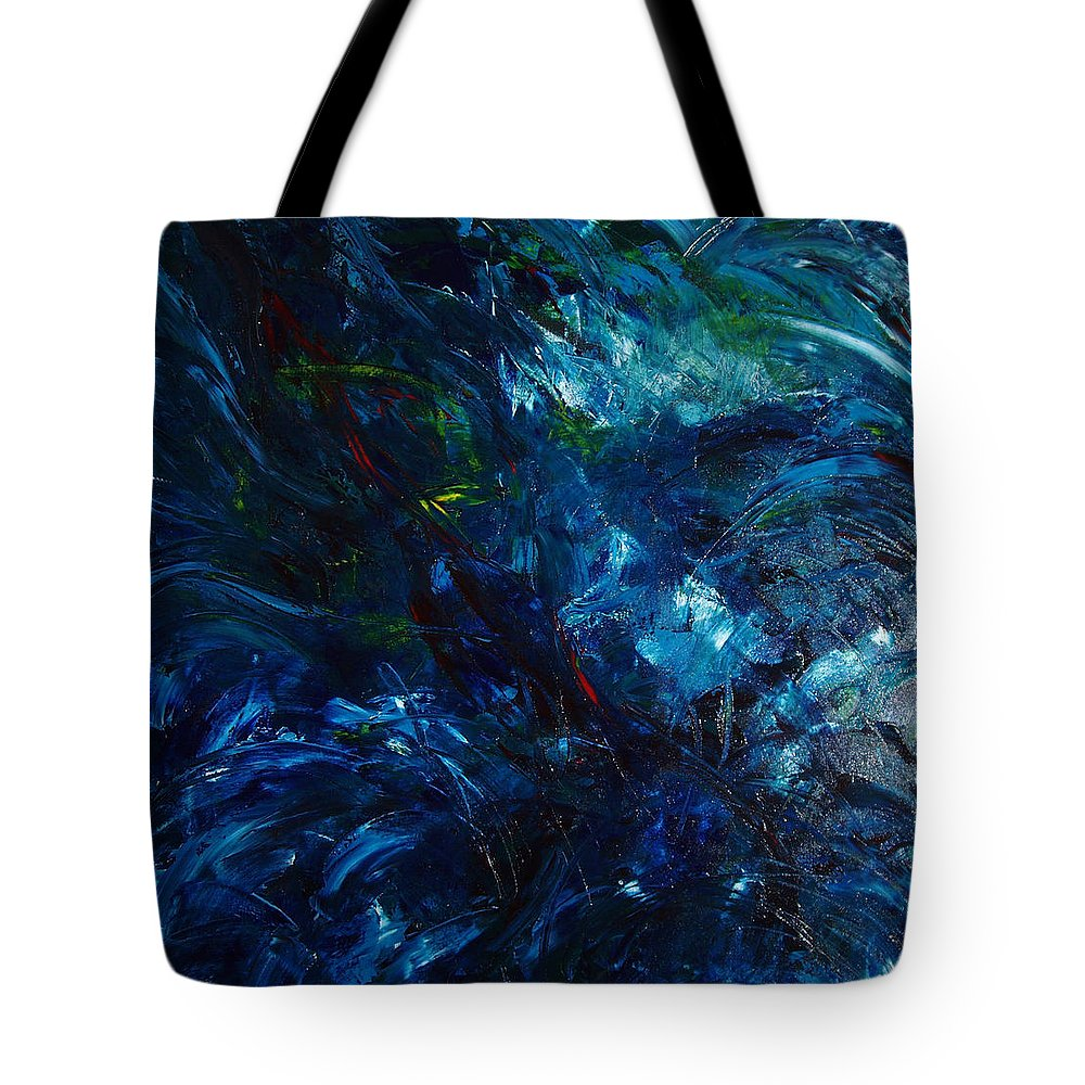 Water Tote Bag featuring the painting Water Reflections 1 by Nancy Mueller