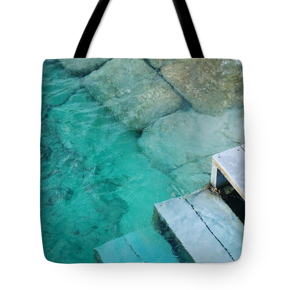 Water Blocks Bricks Tote Bag featuring the photograph Water Steps by Rob Hans