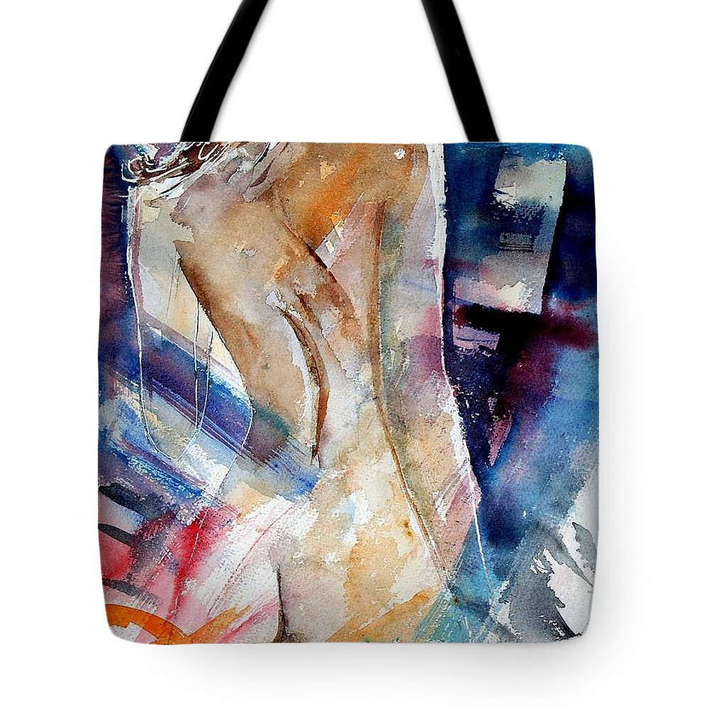 Nude Tote Bag featuring the painting Watercolor 010107 by Pol Ledent