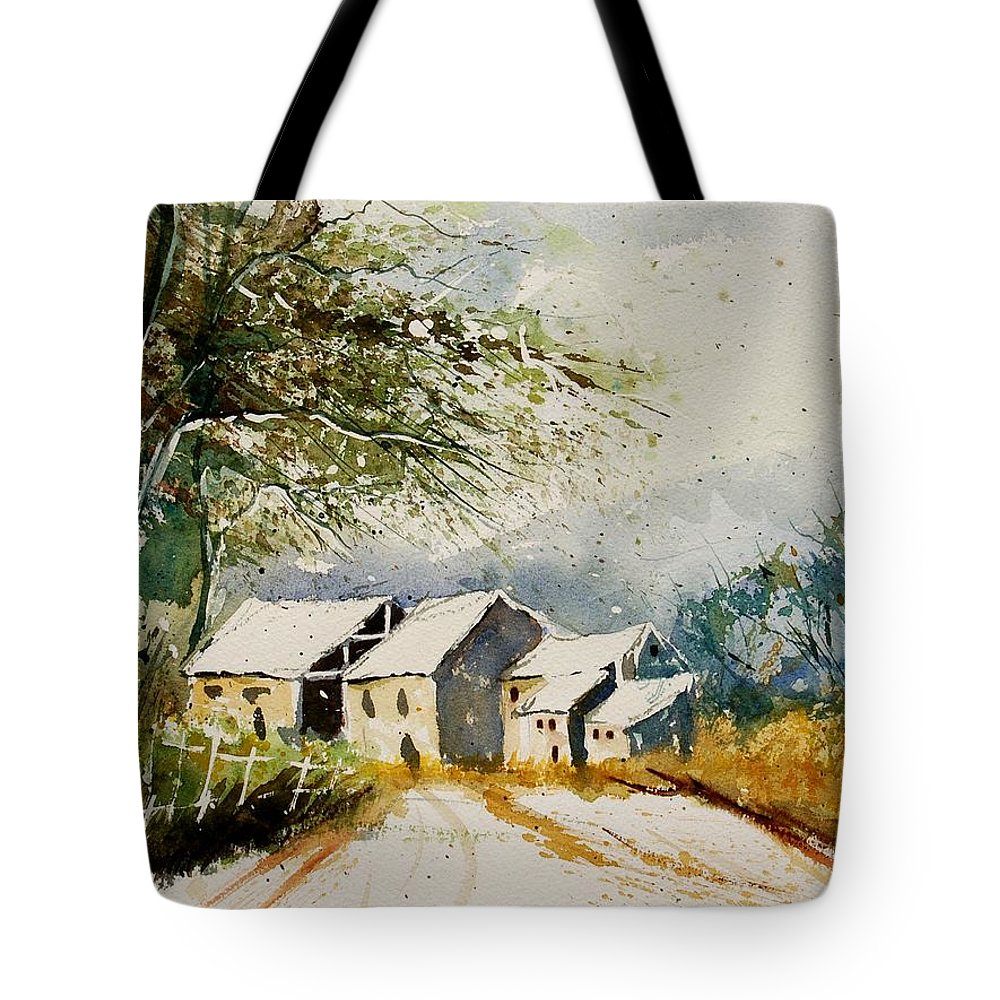 Landscape Tote Bag featuring the painting Watercolor 010708 by Pol Ledent