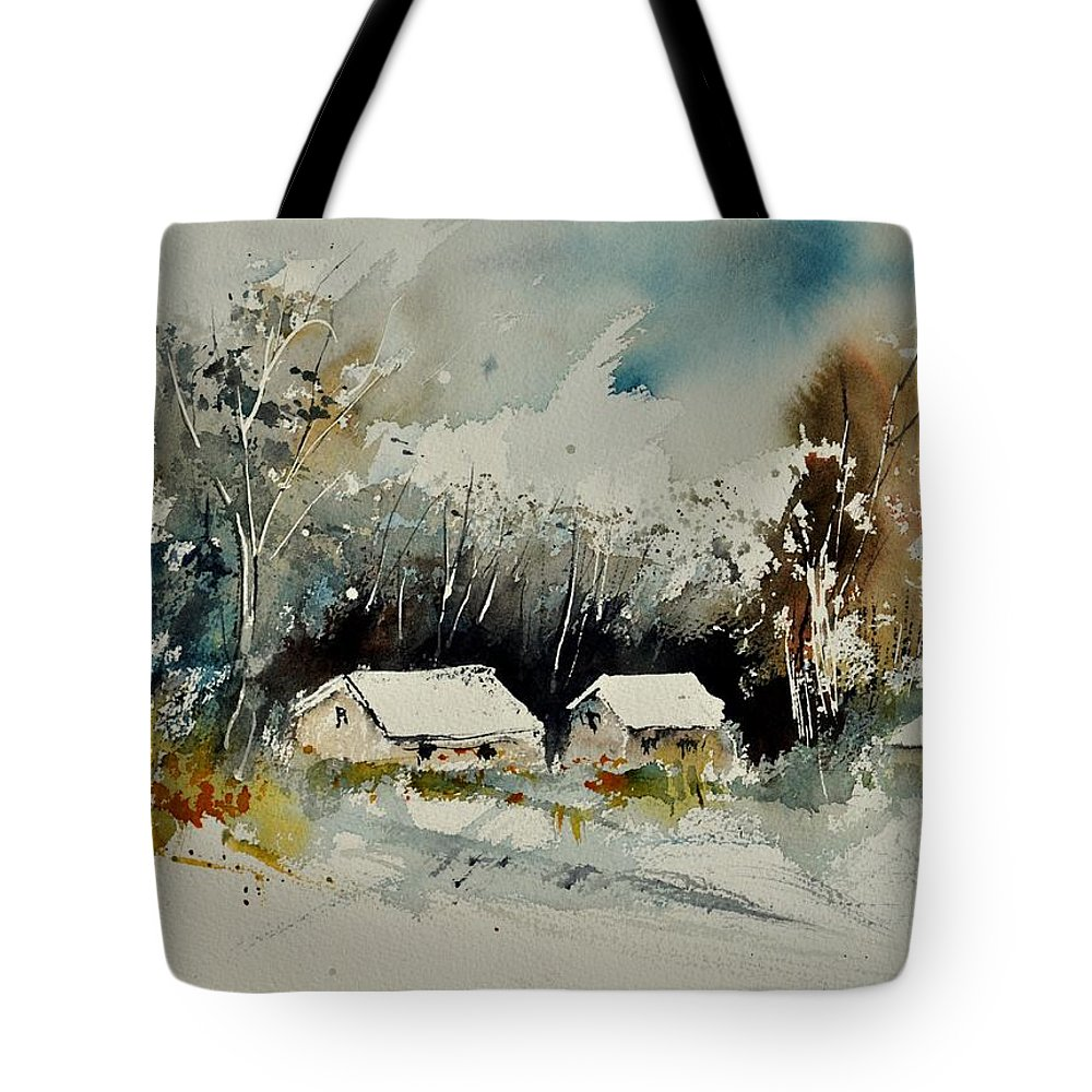 Landscape Winter Tote Bag featuring the painting Watercolor 012102 by Pol Ledent