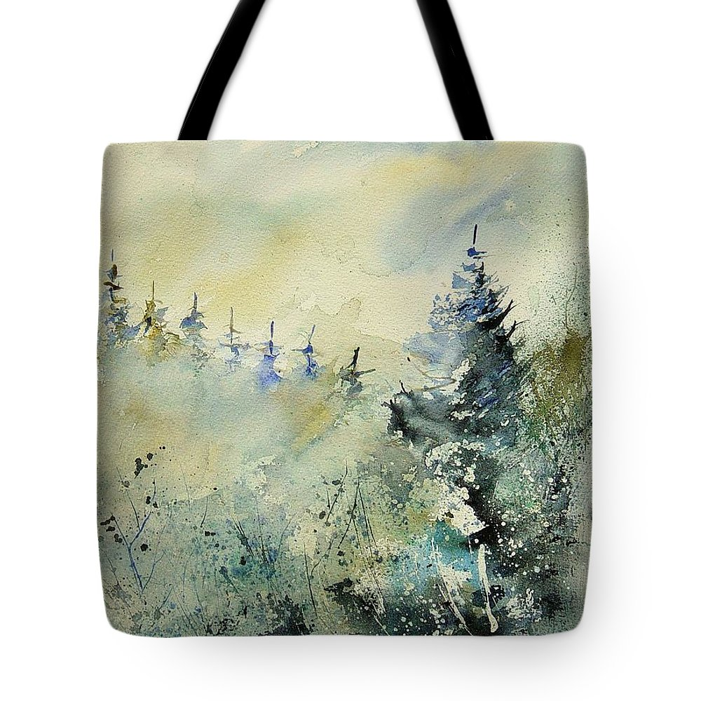 Winter Tote Bag featuring the painting Watercolor 020307 by Pol Ledent