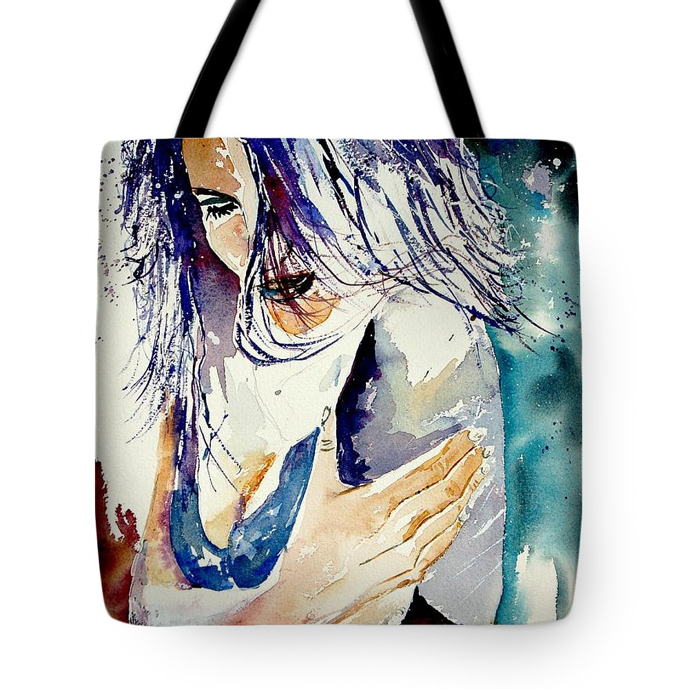 Girl Tote Bag featuring the painting Watercolor 050308 by Pol Ledent