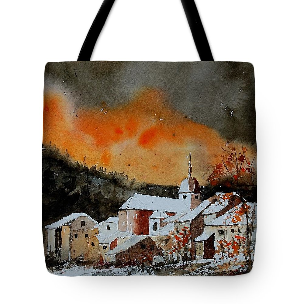 Winter Tote Bag featuring the painting Watercolor 050707 by Pol Ledent