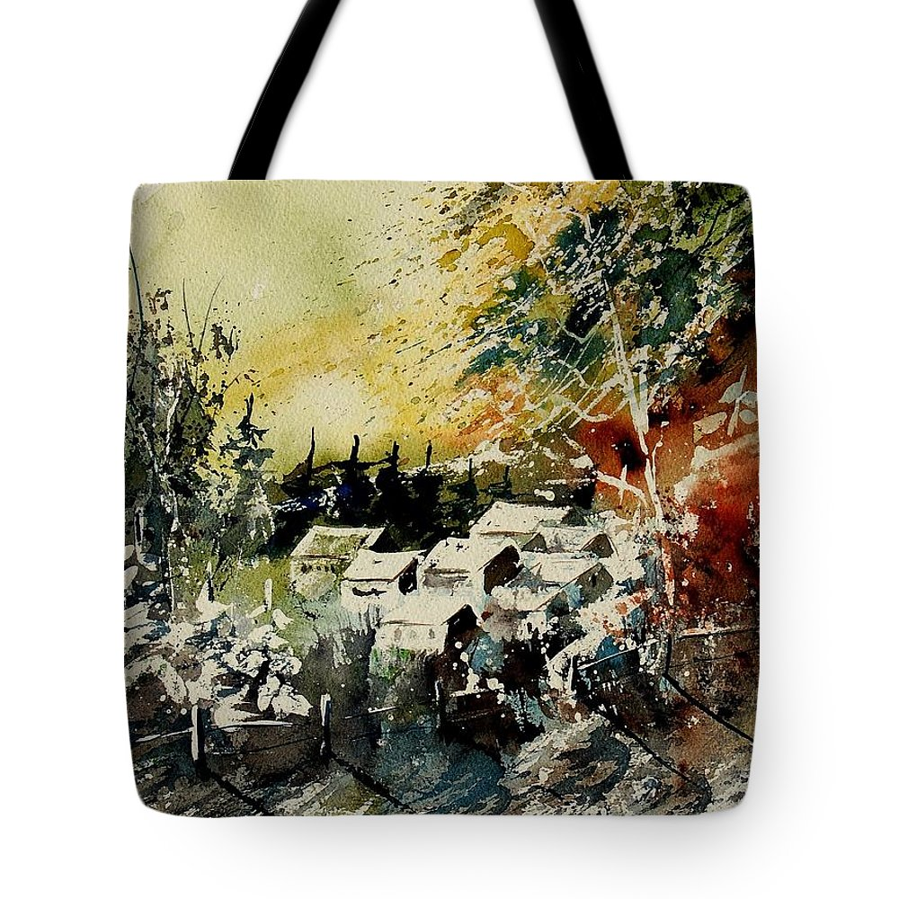 Village Tote Bag featuring the painting Watercolor 130708 by Pol Ledent