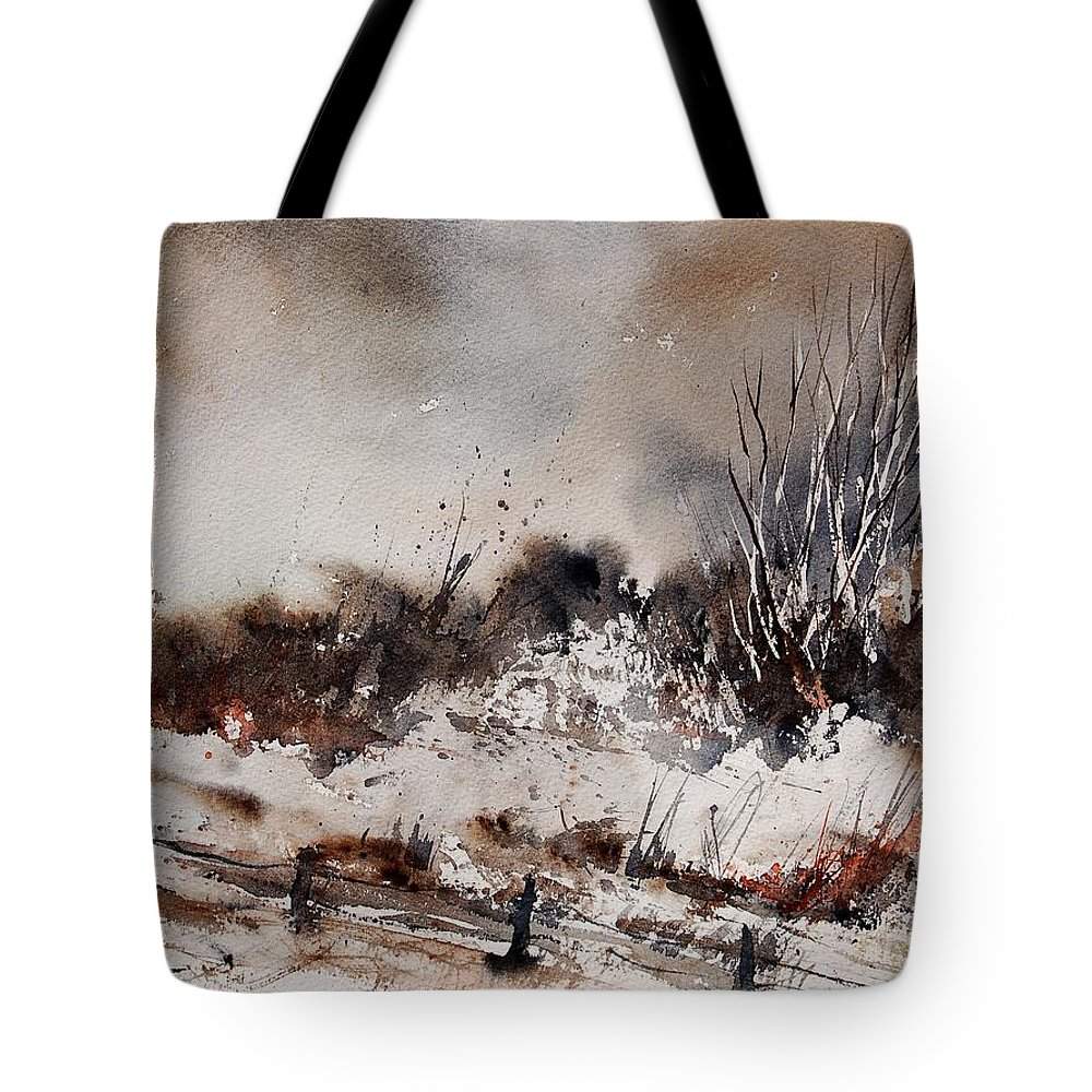 Winter Tote Bag featuring the painting Watercolor 150708 by Pol Ledent