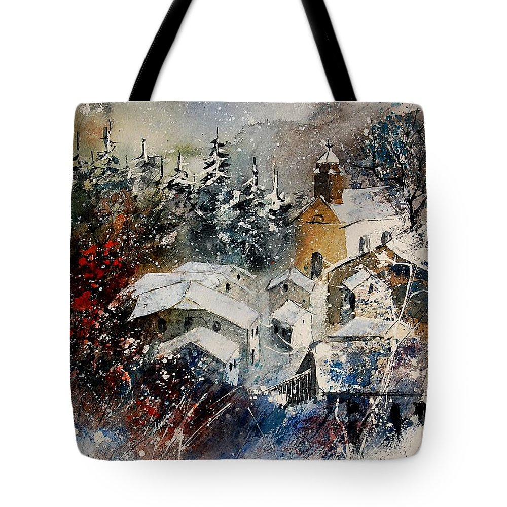 Winter Tote Bag featuring the painting Watercolor 160908 by Pol Ledent
